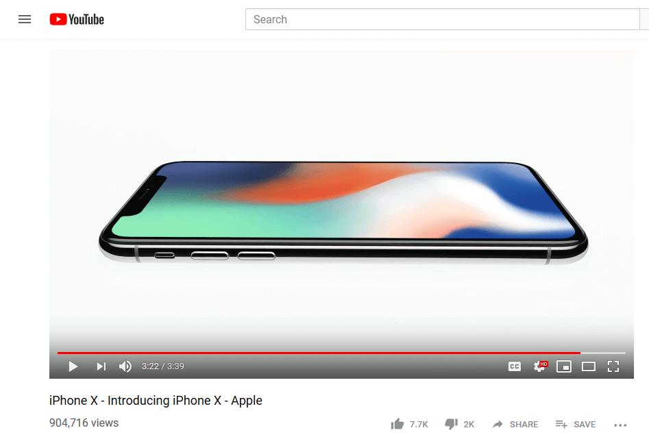Apple iPhone X YouTube Ad